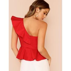 Glamorous Red Ruffle Trim One Shoulder Peplum Slim Fit Peplum Plain Top Cap Sleeve Blouse Women Spring Elegant Blouses Peplum Tops, Zeina, Plain Tops, Crop Top Outfits, Summer Blouses, Women Sleeve, Fashion Sewing, Ruffle Trim, Simple Dresses