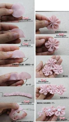 Best 12 Cloth flower making is fun and easy. These cloth flowers look so pretty and are great for adding to brooches, hair clips and necklaces.Ribbon Sakura or plum blossomsThis Pin was discovered by Flo - Sa Diy Ribbon, Ribbon Crafts, Flower Crafts, Fabric Crafts, Sewing Crafts, Diy Crafts, Ribbon Work, Ribbon Hair, Cloth Flowers