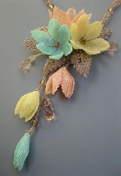 Beaded pendant light spring blossom, OOAK necklace, exclusive handmade bib, 2015, light pink, mint, yellow, brown, beadwoven,