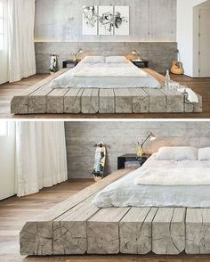 """382 Likes, 6 Comments - WOODPUNCH (@woodpunchcom) on Instagram: """"This bed sitting on platform made of reclaimed logs adds a rustic yet contemporary feel to the…"""""""