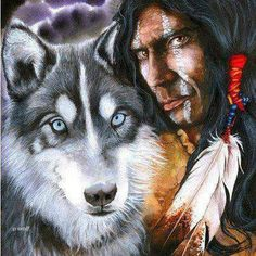 Wolf with American Indian