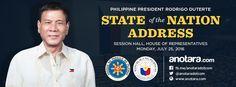 Philippine president Rodrigo Duterte |  2016 State Of the Nation Address (SONA) | Monday, July 25, 2016  Follow us: http://fb.me/anotara.com | http://www.anotara.com