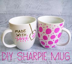 Draw your design on a mug with a Sharpie. Bake for 30 min at 350 degrees to set the ink.