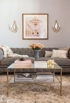 Get inspired by Glam Living Room Design photo by Jessie D[P] Miller Design. Wayfair lets you find the designer products in the photo and get ideas from thousands of other Glam Living Room Design photos. Glam Living Room, Formal Living Rooms, Living Room Grey, Living Room Decor Gold, Living Room Decor Elegant, Neutral Living Rooms, Living Spaces, Gold Home Decor, Coffee Table With Shelf