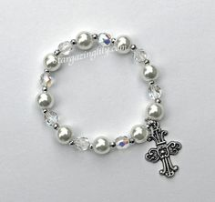 Pearl and crystal bracelet Perfect for First by stargazinglily, $6.75