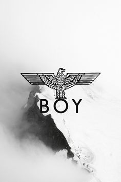 BOY. London. Core. Brand. Advertising. Background. Mountains. Clouds. Alps. Simple. Text. Print. Clothing. Company.