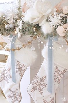 Whimsical Glam Christmas Mantel In Pastels – Summer Adams – The Best DIY Outdoor Christmas Decor Silver Christmas Decorations, Whimsical Christmas, Christmas Tablescapes, Christmas Mantels, Holiday Decor, Classy Christmas, Blue Christmas, Beautiful Christmas, Christmas Home