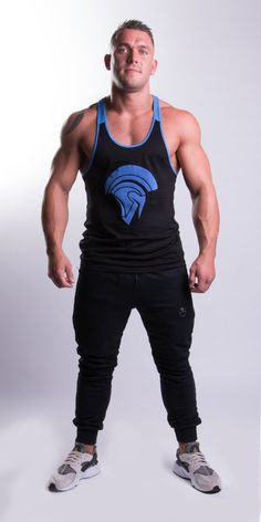 Tremor Classic Stringer Black/Blue - EconomicShopping Color Combinations, Tank Man, How To Make, How To Wear, Sporty, Mens Fashion, Tank Tops, Classic, Model