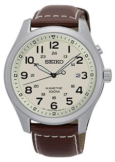 Seiko Mens Analog Beige Dial Leather Strap Casual Kinetic Watch for sale online Seiko Skx, Seiko Watches, Mens Watches Leather, Leather Men, Casual Watches, Watches For Men, Wrist Watches, Field Watches, Brown Leather Strap Watch
