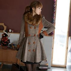 Brown jacket with furry collar.  http://roseandpose.com/