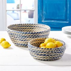 Set of 2 Woven Bowls design by Twos Company