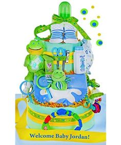 Friendly Frogs 3 Tier Diaper Cake - these cute little frogs adorn a lively and bright diaper cake. This works great for a gift or as a table centerpiece - you decide!  http://www.favorfavorbaby.com/p-FFDC.htm