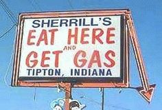 "At the intersection of highway's 31 & 28 between Tipton and Frankfort.  Ate there many times in my traveling days in Northern Indiana.  Don't remember ever ""getting gas"" though!"