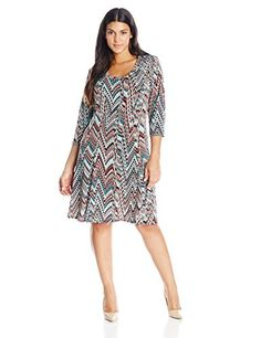 Karen Kane Womens PlusSize 34 Sleeve Dress Print 1X ** Find out more about the great product at the image link.
