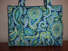 Blue Green White Yellow Navy Paisley Print Quilted by RoxannasBags, $40.00