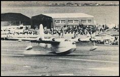 Short Sunderland of the Royal New Zealand Air Force - a VERY low pass.