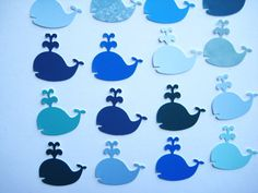 100 Blue Green Recycled Paint Chip Whale by ThePrettyPaperShop