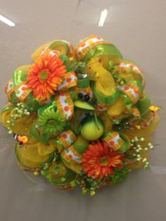 Frog wreath with orange and green deco mesh