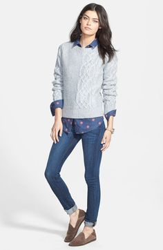 Hinge® Sweater, Shirt & Hudson Jeans Skinny Jeans  available at #Nordstrom