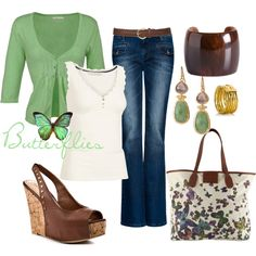 Green, cream and butterflies, created by luchenskil on Polyvore