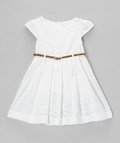 Girls on the go think carefree style should feel as simple as it looks—and this fun-loving frock agrees. Graced with sweet eyelet lace, its cap sleeves and generous skirt lend this dress classic charm. A belt pulls the look together.