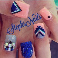 #coral#navy#glitter#grey#acrylicnails#tribalprint#cute#crystalcluster#pearls#love#nails#stephsnails @krisd02