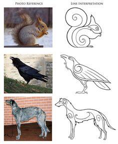 Modèles d'animaux type celtique. Tableau 2