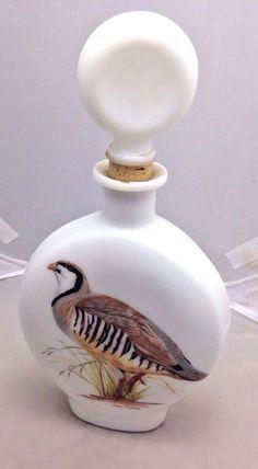 Famous Artist Arthur Singer Field Bird Milk Glass Decanter Chukar Partridge 1969