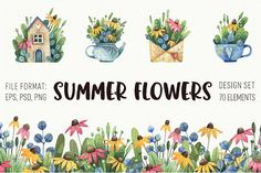 Watercolor summer set by Sсherbynka on @creativemarket