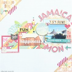 "#papercraft #Scrapbook #layout.  ""Jamiaca Mon"" Hip Kit Club June 2014 by AshleyFowler at @studio_calico"