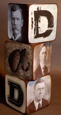 Cool Father's Day idea. Three generations of great fathers captured on blocks. #CelebrateDad