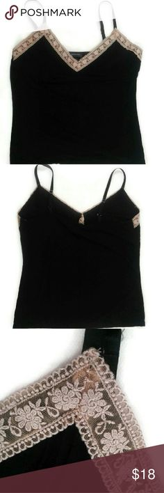 "Black Cami ~ Sheer Floral Trim Tank Top Excellent Condition! No flaws!  Measurements: Shoulder to Shoulder 11"", Armpitto Armpit 17"", Length 18"". Sleeveless.  Please, review pics. Contact me if you havequestions. Smoke/Pet free home. International Concepts Tops Tank Tops"