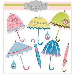 umbrella clip art, Digital clip art for all use,  parasol , INSTANT DOWNLOAD on Etsy, $4.50