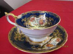 AYNSLEY BONE CHINA COBALT BLUE TEA CUP AND SAUCER