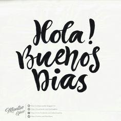 Frase de buenos días Cartel con frase Hola! Buenos días Lettering ejemplos