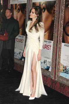 Angelina Jolie in a White Cashmere Versace. Love the dress!!