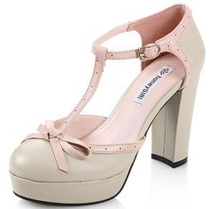 High Quality Temperament Side Hollow Breathable Buckle Sweet Bowtie Chunky Single Thick Heel Shoes Platform Pumps Pink Round Toe