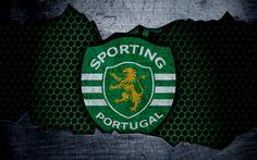 Download wallpapers Sporting, 4k, logo, Primeira Liga, soccer, Sporting Lisboa, football club, Sporting CP, Portugal, grunge, metal texture, Sporting FC