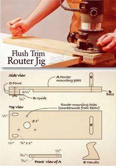 Flush Trim Router Jig - Edging Tips, Jigs and Techniques   WoodArchivist.com
