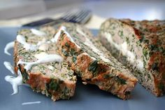 I hate meatloaf, but this one I could actually like...Feta-Stuffed Turkey Meatloaf with Tzatziki Sauce (Low Carb)