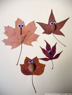 5 Autumn Crafts for Kids - - via Acorns, leaves, nuts, pinecones.Nature provides us great materials for crafts projects! Need some ideas? Here are 5 easy and creative crafts to try. You can see my past DiY roundup: Autumn Leaves Craft, Autumn Crafts, Fall Crafts For Kids, Autumn Art, Nature Crafts, Diy For Kids, Holiday Crafts, Crafts To Make, Kids Crafts