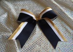 Navy Blue White & Gold Cheer Bow 6x6 by MsLadysBoutique on Etsy, $8.00