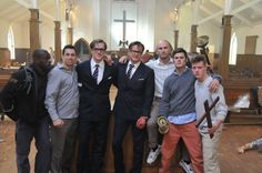 (https://www.pinterest.com/pin/380061656029714658/) The matching Rick English, left, and Colin Firth, center, pose in the church set with the 'Kingsman' stunt team. (Credit: Andy Owen)