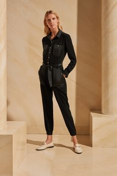 ME+EM's AM-PM Cargo Jumpsuit is a contemporary chic outfit solution, crafted from smart, lightweight twill tailoring for the polished look. Contemporary Dresses, Checked Blazer, Tailored Trousers, Polished Look, Black Jumpsuit, Belted Dress, Collar Shirts, Size Model, Chic Outfits