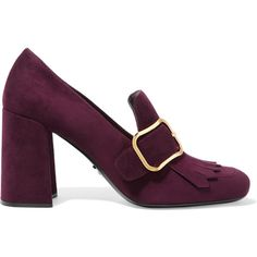 PradaBuckled Fringed Suede Pumps ($880) ❤ liked on Polyvore featuring shoes, pumps, burgundy, high heel shoes, burgundy pumps, slip-on shoes, square-toe pumps and prada shoes