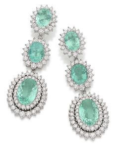 Talento - Brinco gotas oura branco com diamantes e turmalinas paraíba - Paraíba tourmaline and diamond earrings set in white gold.
