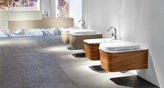 Con Edoné i sanitari arredo bagno divengono veri e propri elementi di arredo. Il rivestimento della parte esterna può avere la stessa finitura dei mobili del bagno grazie a carter intercambiabili con un sistema di aggancio brevettato.