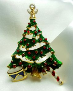 Vintage Christmas Tree Brooch with Attached by VJSEJewelsofhope, $17.00