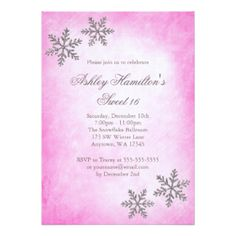 Sweet 16 Winter Wonderland Sparkle Snowflakes Pink Card