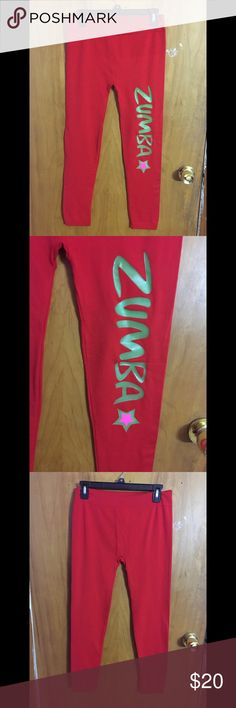 Zumba Leggings This red leggings have never been worn! They are extremely soft and are made of 92% nylon and 8% spandex. These leggings are one size! *these leggings are not from the actual company Zumba, it just has the word Zumba printed on the side* Zumba Fitness Pants Leggings
